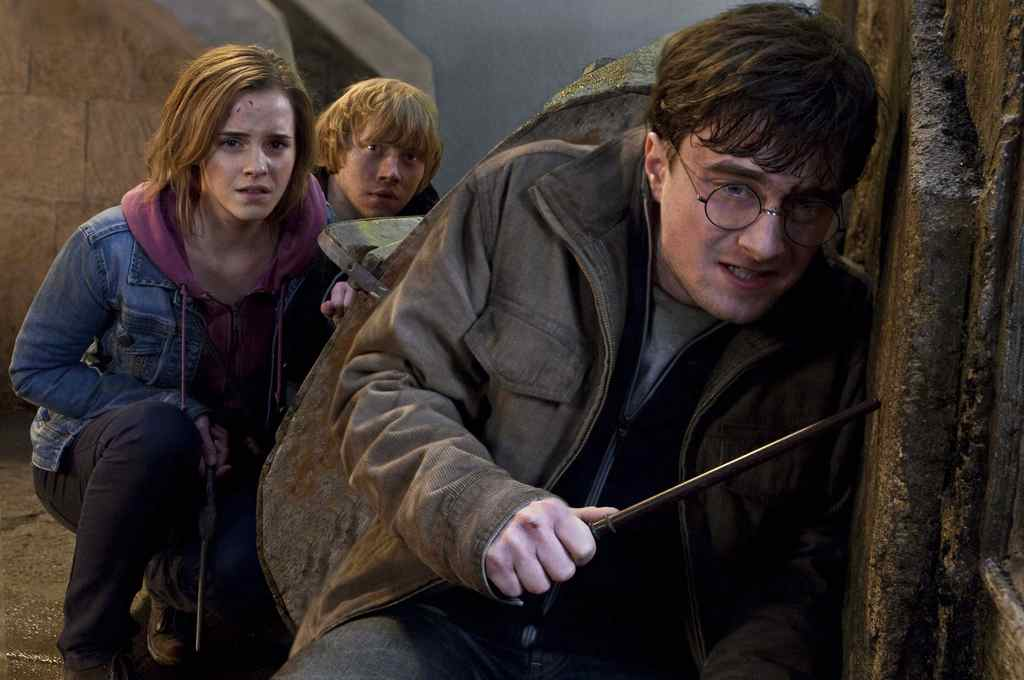 Emma Watson, Rupert Grint and Daniel Radcliffe are shown in a scene from Harry Potter and the Deathly Hallows: Part 2.