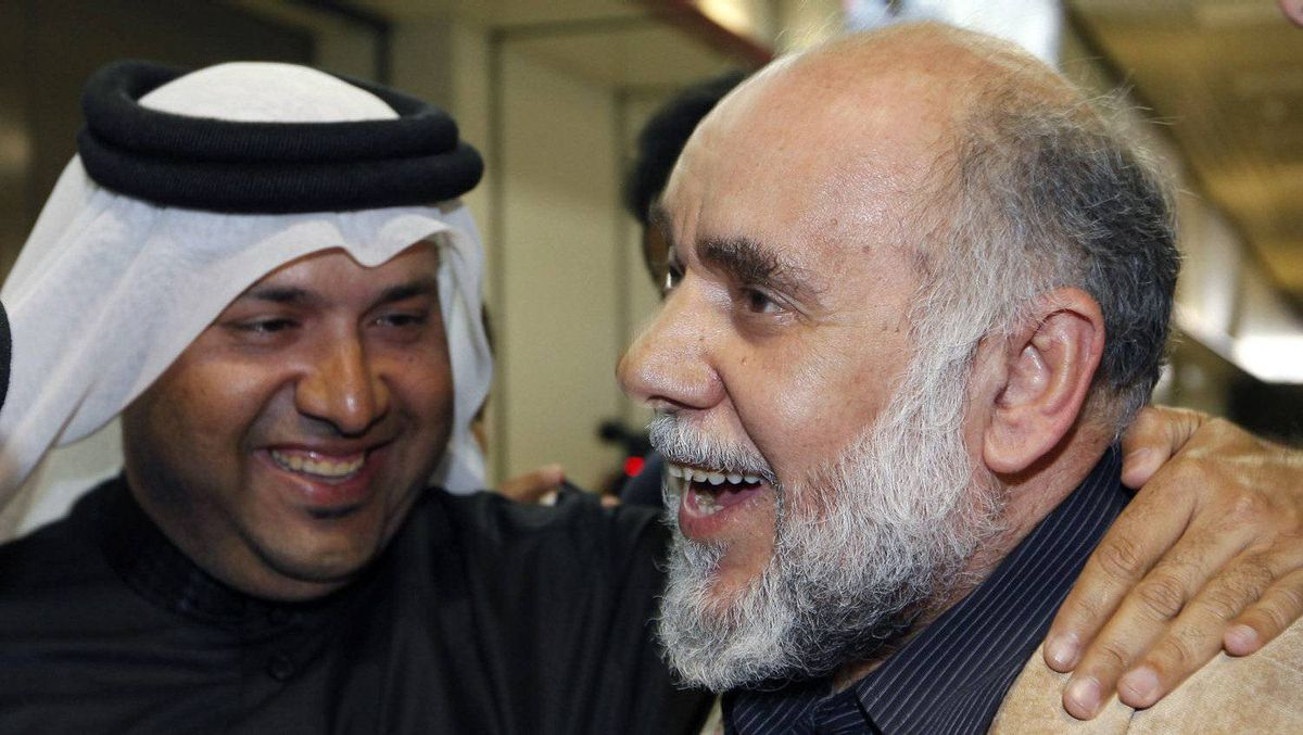 Bahrain Shiite opposition leader Hassan Mushaima is greeted by supporters upon his arrival Saturday at Bahrain International Airport in Manama, the capital.