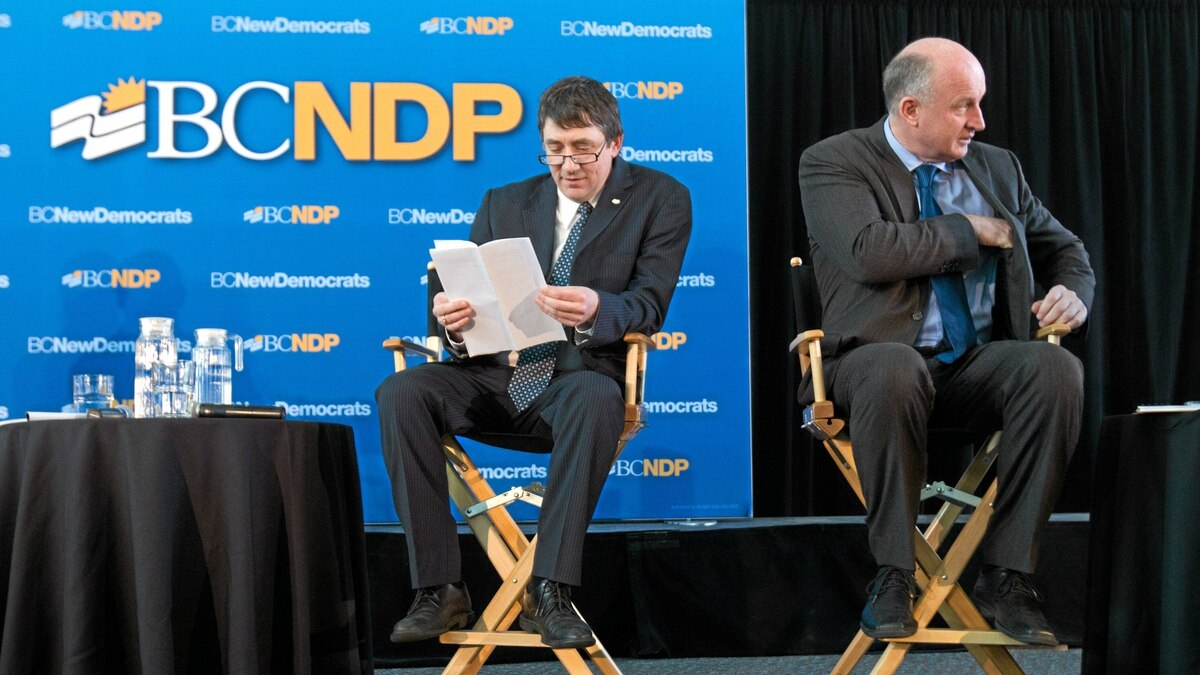 British Columbia NDP leadership candidates Nicolas Simons, left, and Mike Farnworth await the start of a debate in Surrey, B.C., on Sunday March 20, 2011.