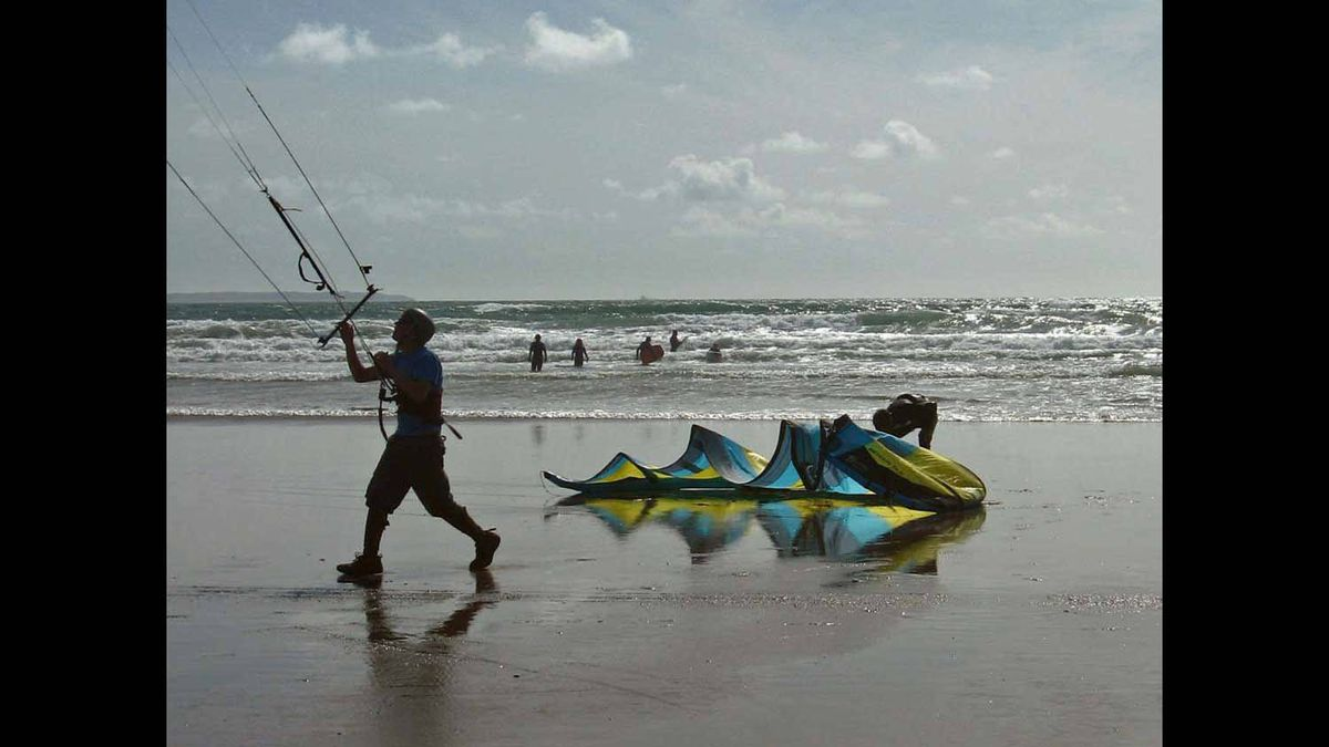 Taken on a beach in SW Wales UK where parasurfers surfed on wheeled boards along the sand. Summer 2009.