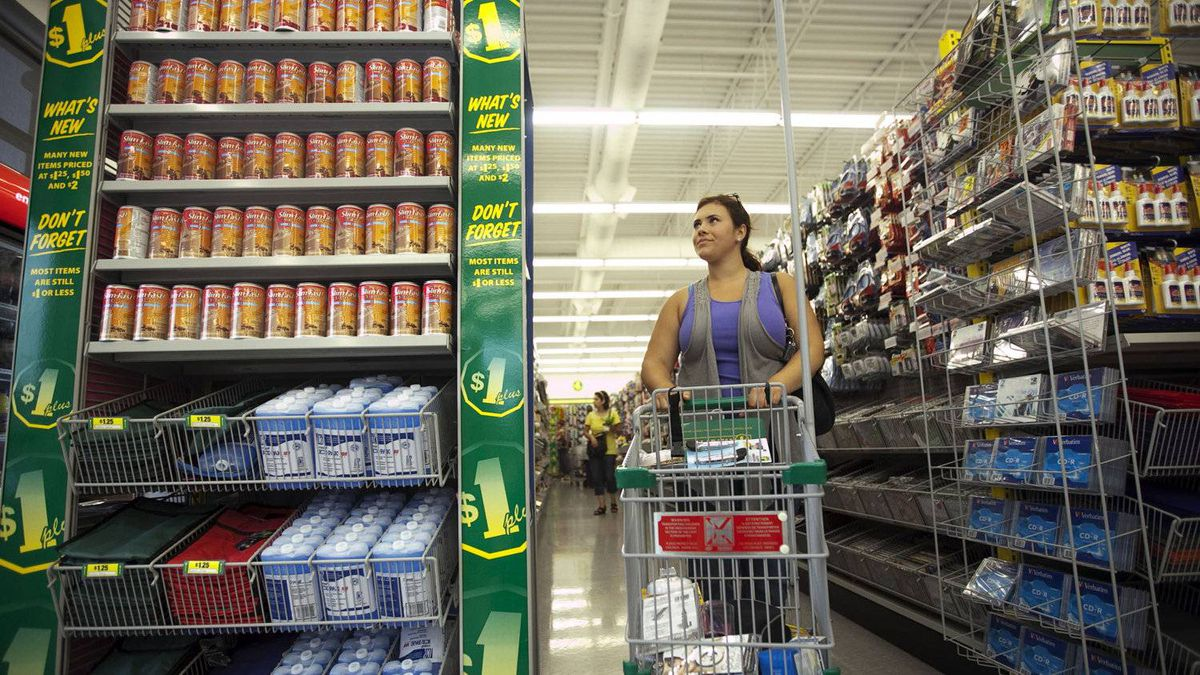 A customer shops at the Dollarama in Vaughan, Ont.