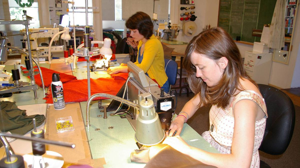 Nicole Boyer (left) makes a skirt while Harmony Moore sews a Pyatt tunic in the Smoking Lily studio in Victoria, B.C.