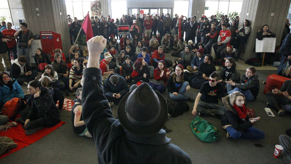 University and CEGEP students occupy the Complex G, the building where the offices of the Minister of Education are located, during a demonstration against a hike in tuition fees in Quebec City, March 27, 2012.