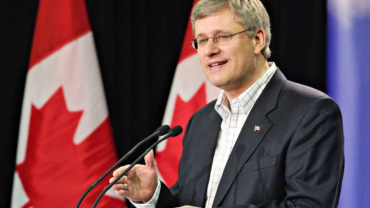 Prime Minister Stephen Harper speaks to reporters in Edmonton on Oct. 8, 2010.