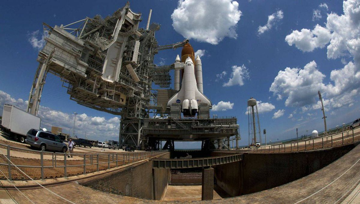 The space shuttle Endeavour STS-134 sits on launch pad 39A after the rollback of the Rotating Service Structure at the Kennedy Space Center in Cape Canaveral, Florida.