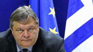 Greece's Finance Minister Evangelos Venizelos speaks at a news conference after a Eurogroup meeting in Brussels agreed on a second bailout program for Greece, on Feb. 21, 2012.