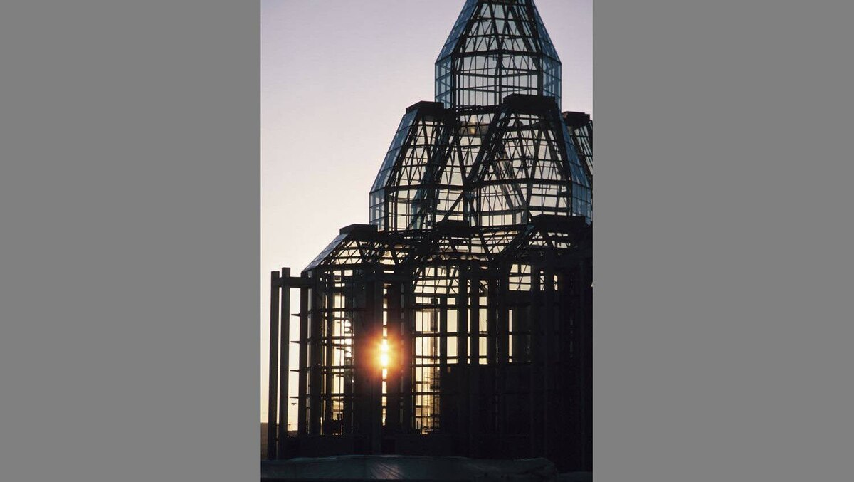 Sunset over glass tower of the National Gallery of Canada in Ottawa.