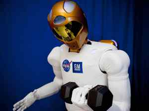 Robonaut2 surpasses previous dexterous humanoid robots in strength and is able to lift, not just hold, a nine-kilogram weight. Joe Bibby/NASA