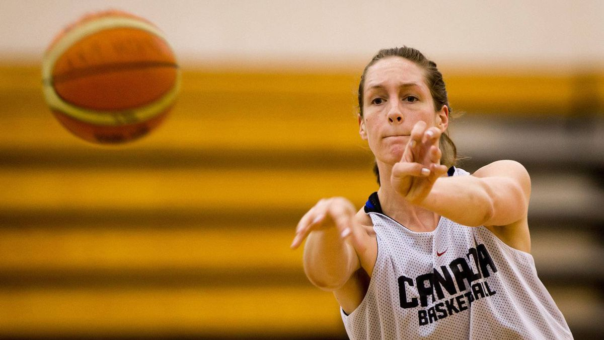 Canadian women's national basketball team centre Krysten Boogaard, sister of late NHL player Derek Boogaard, passes during practice at the University of the Fraser Valley in Abbotsford, B.C., on Wednesday May 16, 2012.