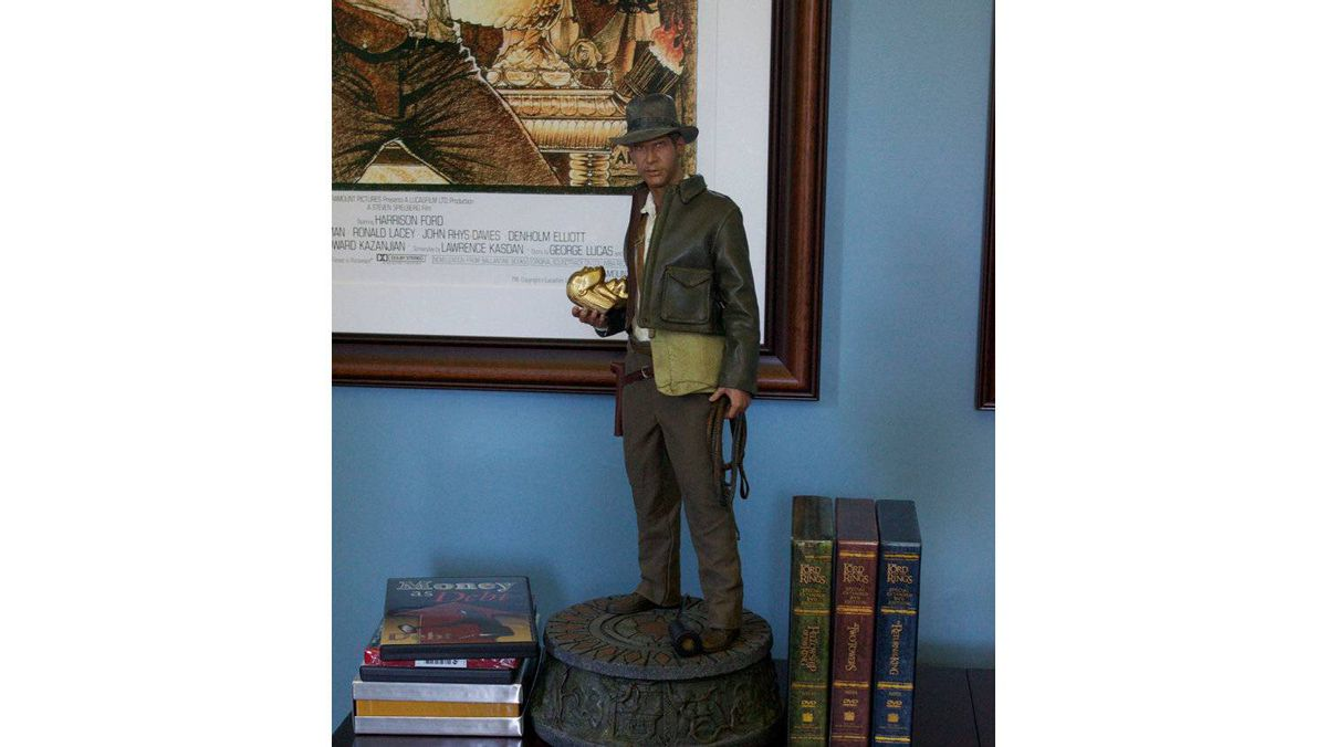 "Statue of Indiana Jones, one of 3,000 made, according to adventure movie prop and memorabilia collector and Fusenet co-founder Ryan van Barneveld, ""stands as a testament of my love for the films and the character."""
