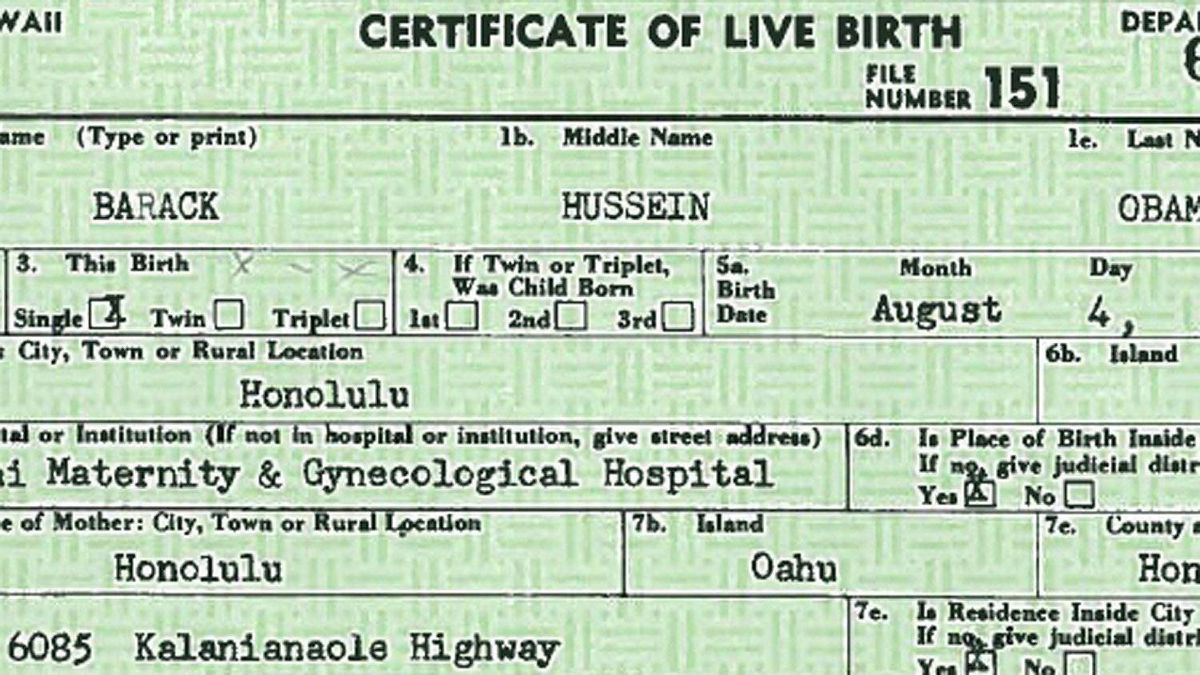 U.S. President Barack Obama's birth certificate that was released by the White House in Washington April 27, 2011. The White House on Wednesday released a longer version of President Barack Obama's U.S. birth certificate to try to quiet a debate within Republican circles that he was not born in the United States.