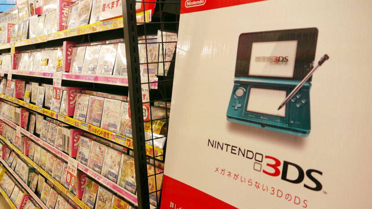 Nintendo's handheld game console 3DS and its game titles are displayed at a Tokyo electric shop on July 29, 2001. Japan's Nintendo on July 28, 2011 reported a first-quarter loss and lowered its annual forecast, citing the strong yen, a lack of new hit game titles, and research and marketing costs.