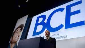 George Cope, president and CEO of BCE Inc., takes a question from a shareholder during the company's annual meeting in Toronto, May 12, 2011.