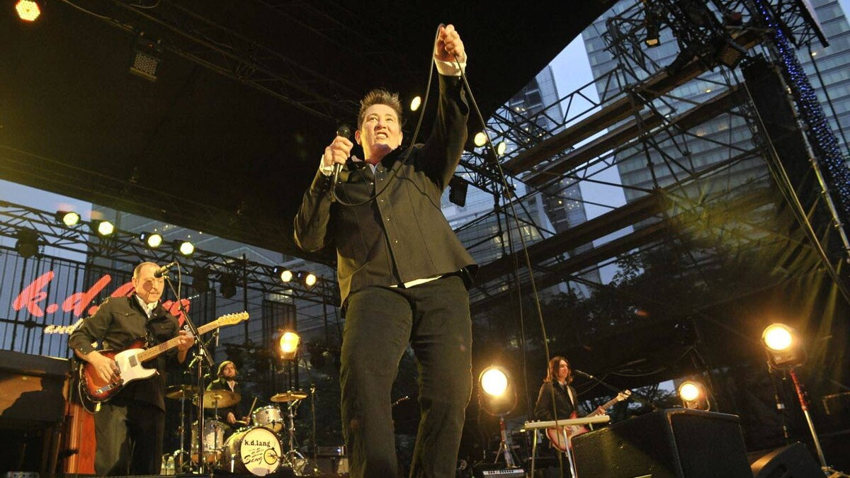 KD Lang performs on an open air stage as part of Luminato in downtown Toronto, June 17, 2011.