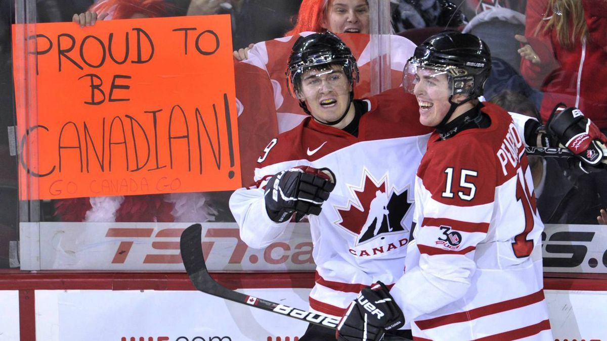 Canada's Mark Scheifele celebrates his second-period goal with Tanner Pearson to give the home team a 2-0 lead.