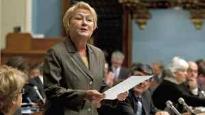 Parti Quebecois Leader Pauline Marois questions the Premier Jean Charest's government in the National Assembly on Oct. 20, 2011.