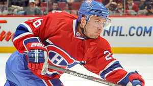 Josh Gorges #26 of the Montreal Canadiens takes a shot during the NHL game against the Boston Bruins on February 7, 2010 at the Bell Centre in Montreal, Quebec, Canada. (Photo by Francois Lacasse/NHLI via Getty Images)