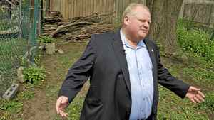 Toronto Mayor Rob Ford photographed while talking to reporters in the public park behind his house where he confronted a Toronto Star reporter who, Mr. Ford claims, was taking photos over his wooden fence.