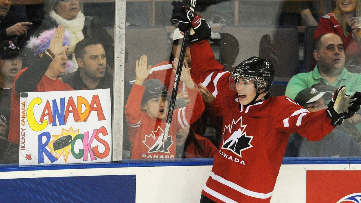 Brendan Gallagher celebrates Team Canada's goal against Team Sweden during second period exhibition hockey action in preparation for the upcoming IIHF World Junior Championships in Edmonton, Alta., on Friday, Dec. 23, 2011. THE CANADIAN PRESS/John Ulan