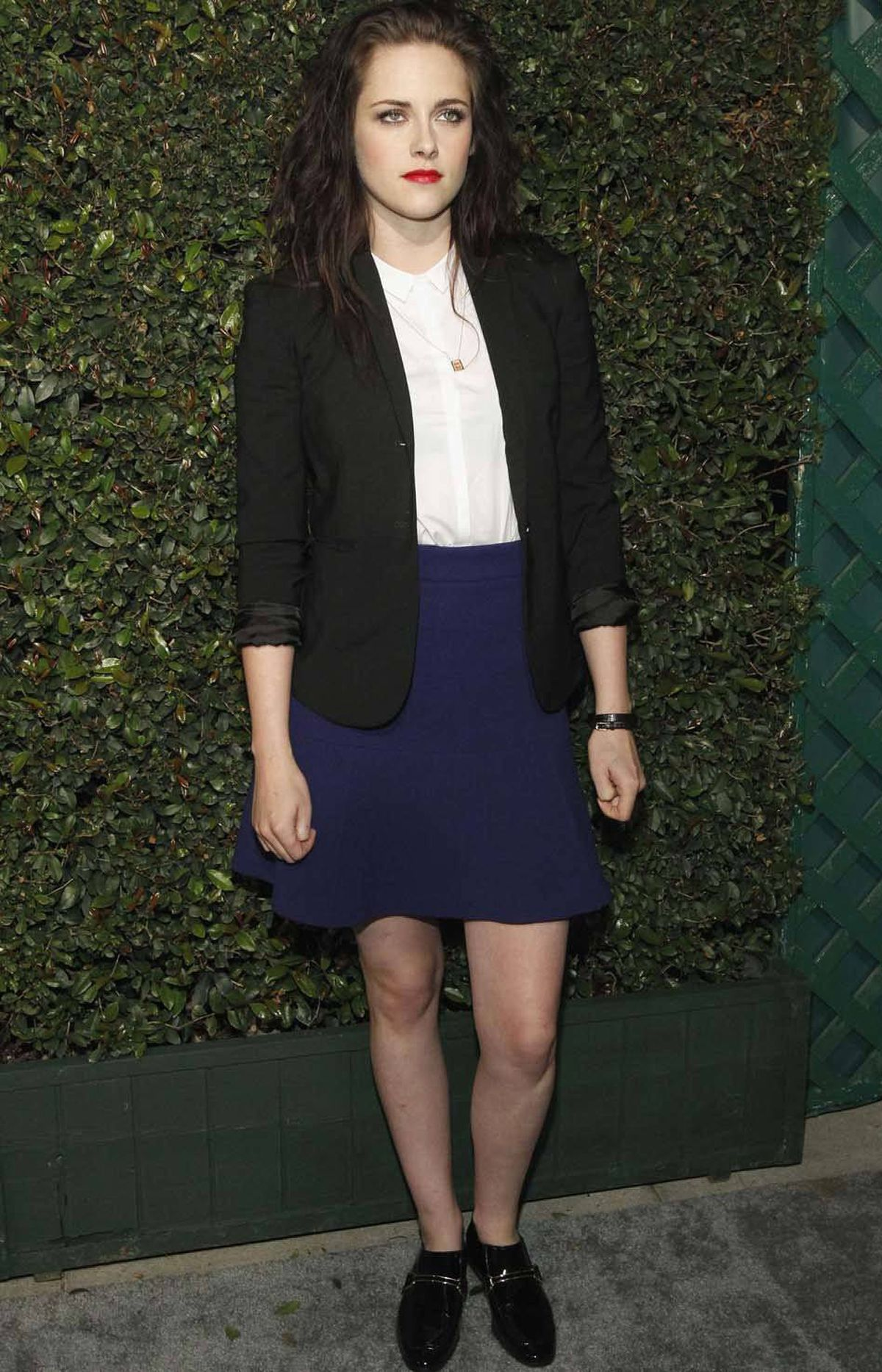 """Actress Kristen Stewart continues to bring the cheer to every event she attends at the premiere of the video """"My Valentine"""" in West Hollywood last week."""
