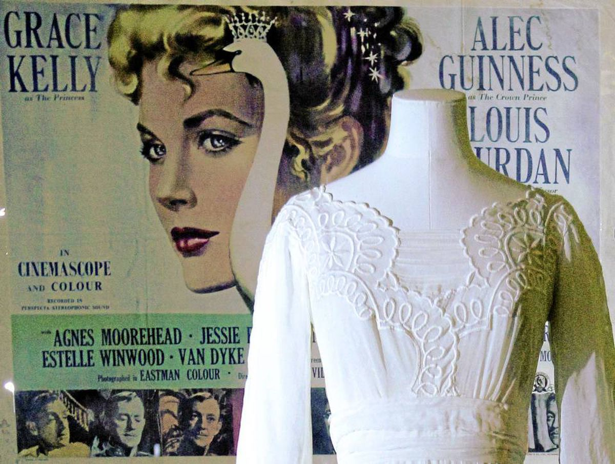 Among the highlights from the Grace Kelly: Style Icon exhibition at London's Victoria and Albert Museum is this embroidered white gown worn by the actress in the 1956 film The Swan.
