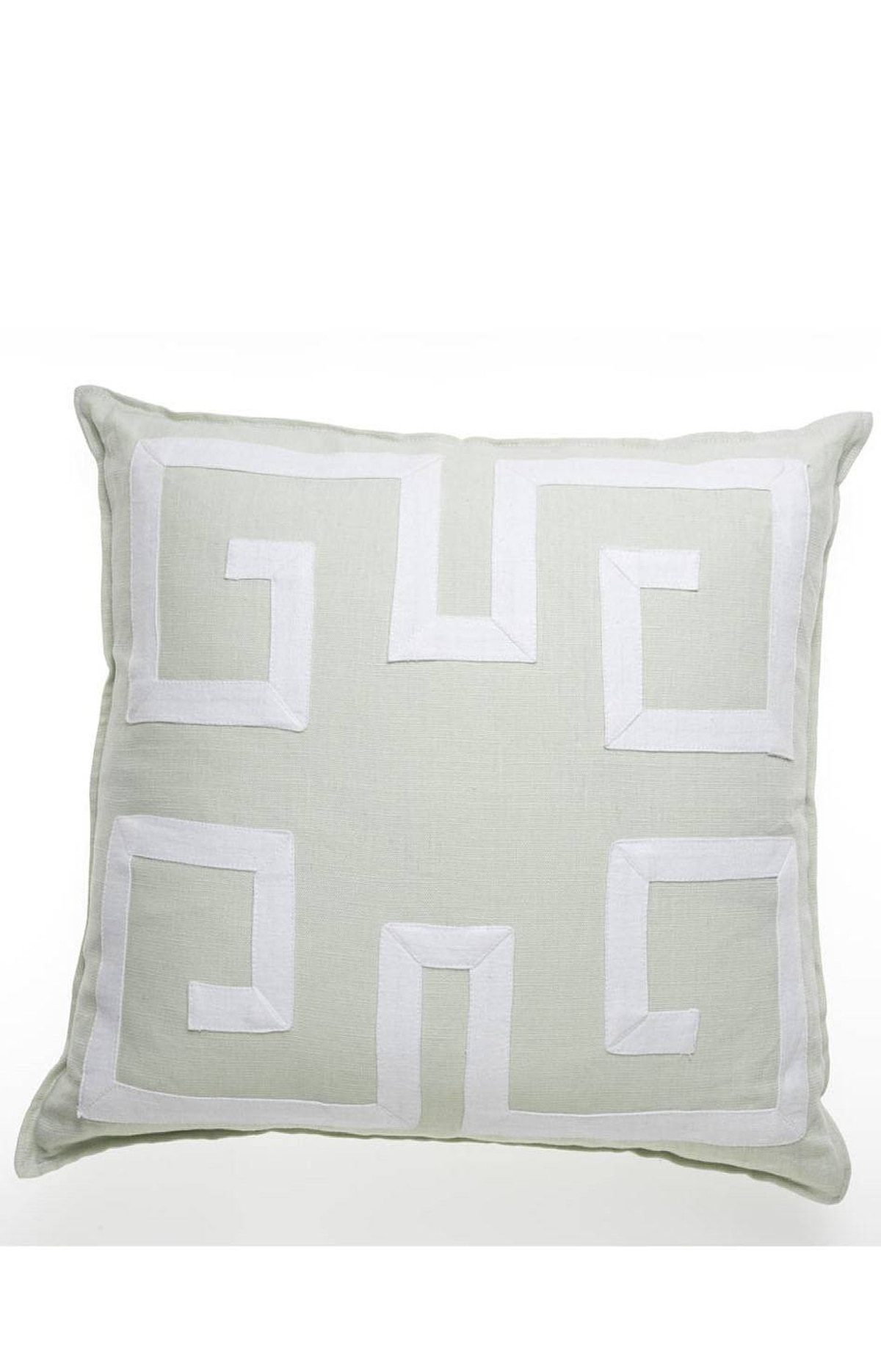 TREND: PASTELS Greek key linen pillow with down insert, $389 at Absolutely Inc. (www.absolutelyinc.com).