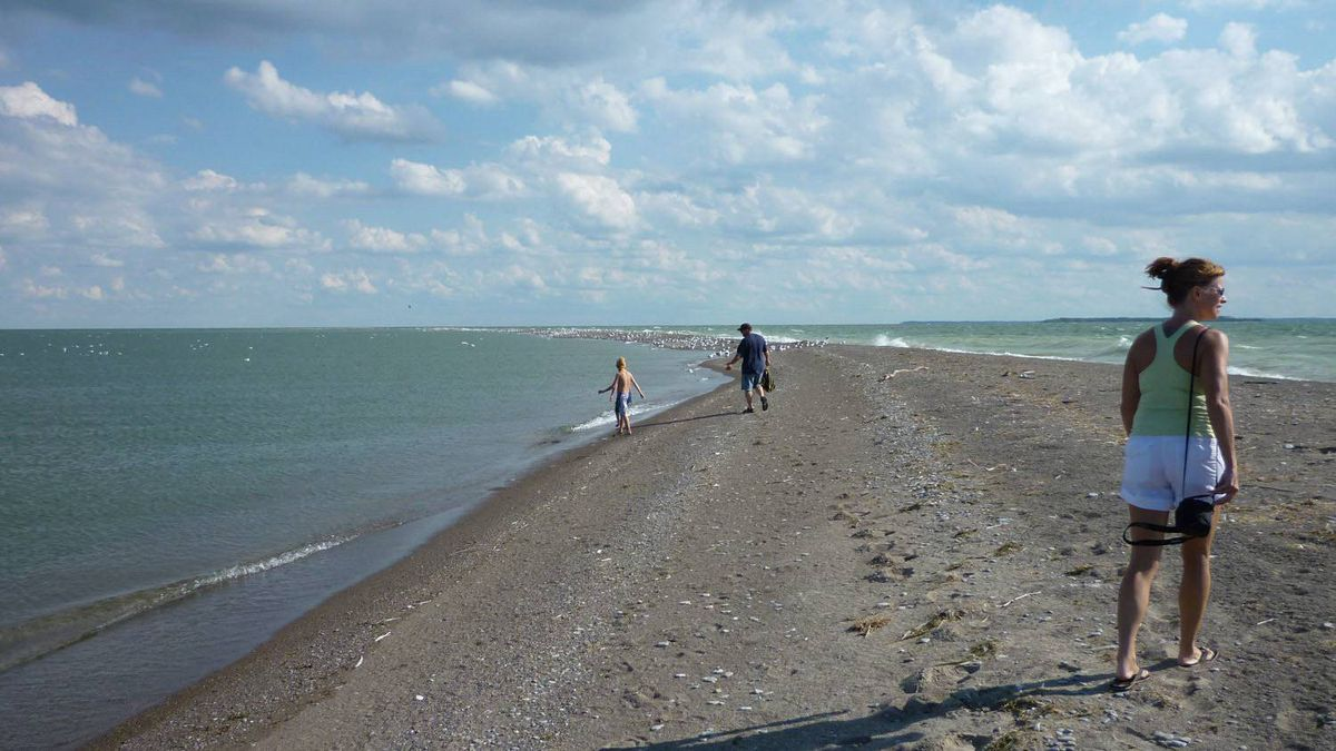 The narrow peninsula at Fish Point on Pelee Island, Ont., extends for over a kilometre into Lake Erie, pictured Aug. 21, 2009.