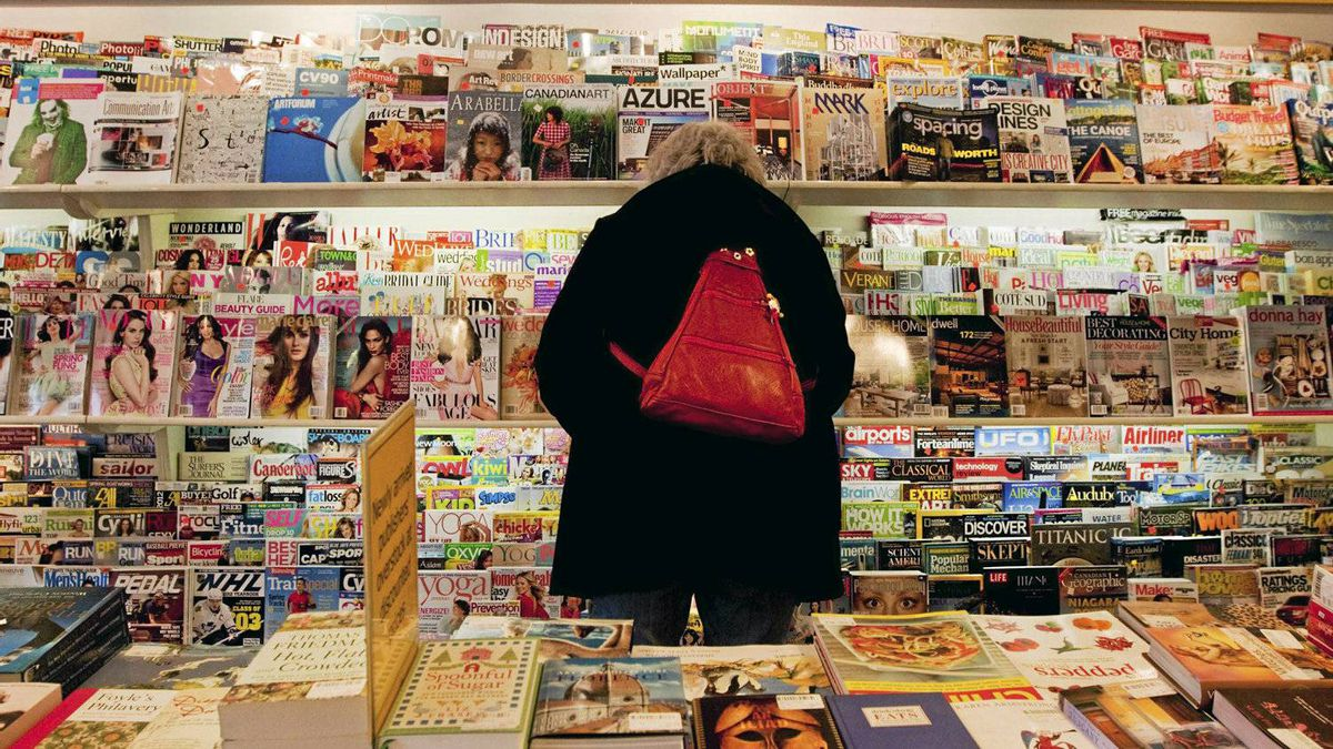 Patricia Blythe peruses magazine racks in Toronto on Tuesday, April 3, 2012. Canadian magazine publishers lost $50 million in newsstands sales last year but industry polls into consumer habits hint at a brighter future.