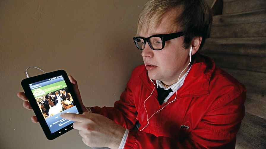 Chris Palin uses a streaming-music application on his tablet computer. He lost the music he had saved on his hard drive after dropping it.