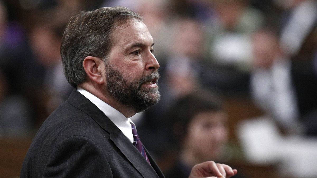 New Democratic Party leader Thomas Mulcair speaks during Question Period in the House of Commons on Parliament Hill in Ottawa March 28, 2012.
