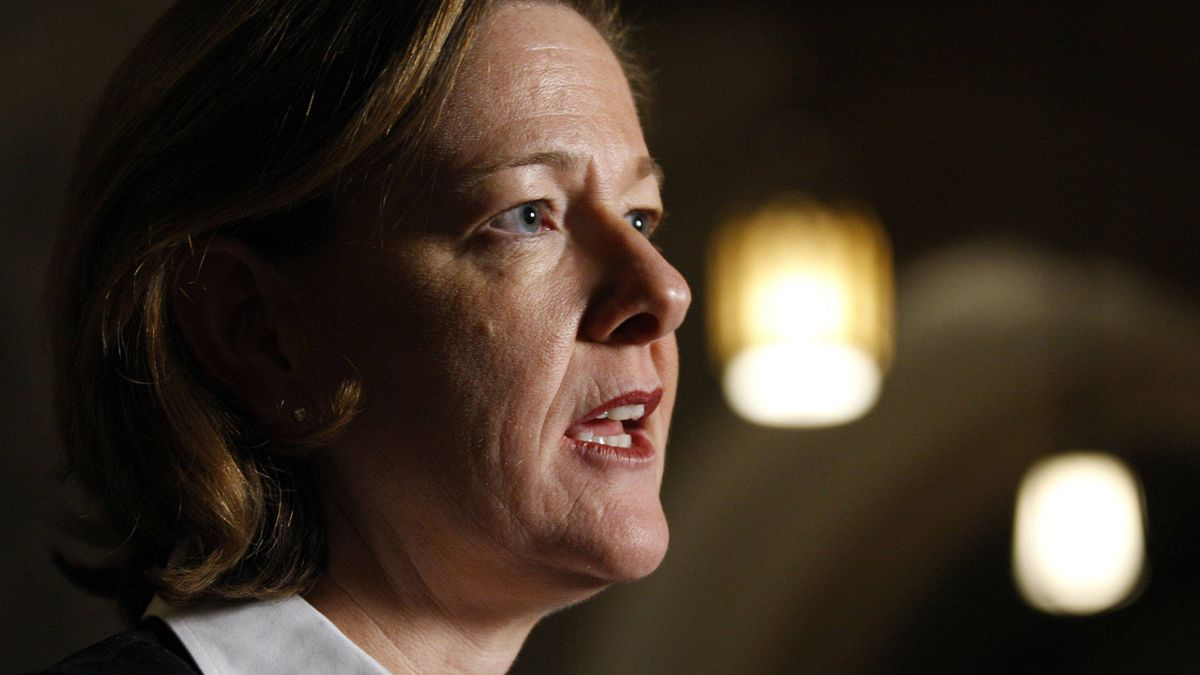 Alberta's Premier Alison Redford takes part in a news conference on Parliament Hill in Ottawa Nov. 17, 2011.