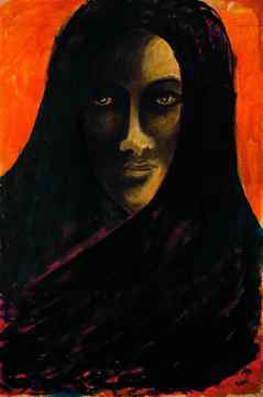 """THE LAST HARVEST PAINTINGS BY RABINDRANATH TAGORE *Untitled, coloured ink and opaque white on silk, 1934 (code: 00-1849-16) """"One of the many paintings Tagore made of his sister-in-law, who committed suicide. It's very haunting"""", says Victoria Dickenson, Executive Director of the McMichael. Untitled Coloured ink and opaque white on silk 90.5 x 60.5 cm 7-9-1934 Collection of Rabindra Bhavanaa Acc. No. 00-1849-16"""