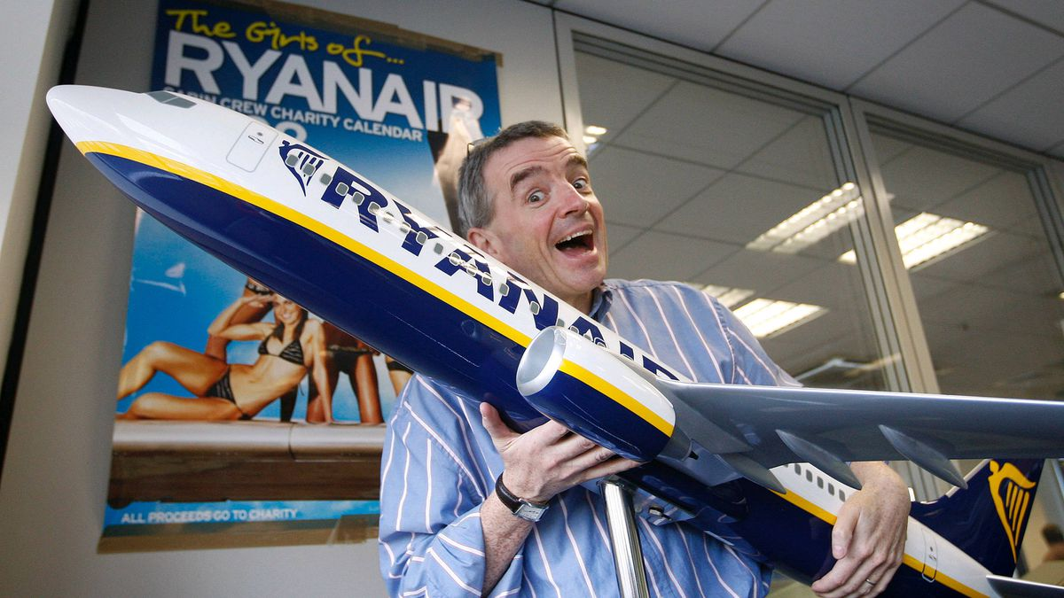 Ryanair CEO Michael O'Leary holds a model plane as he talks to the Globe and Mail at his headquarters at Dublin Airport, Ireland, Thursday, Nov. 20, 2008.
