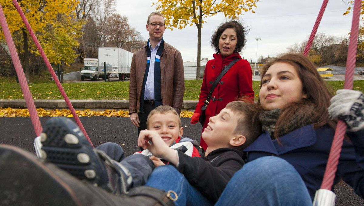 Burke Moffat and his wife Alejandra Bravo with their children (from left) Oscar, Felix and Galya. Mr. Moffat took six months of parental leave when Oscar was born.