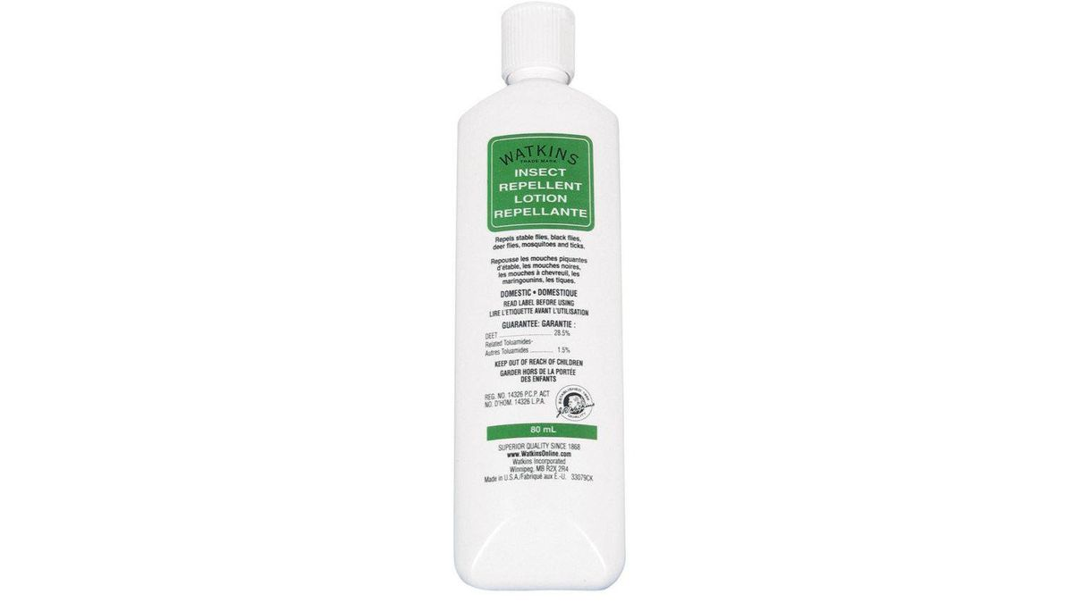 No more no-see-ums Formulated to ward off biting insects (including mosquitoes, black flies, and deer ticks), Watkins Insect Repellent Lotion is a must-take to ward against no-see-ums. Slather some on under your sunscreen and the powerful 28.5 per cent DEET lotion will keep you protected for up to six hours. $7.99; mec.ca