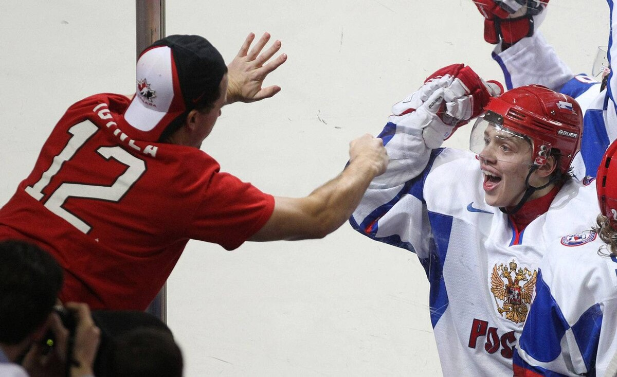 Team Russia forward Artemi Panarin celebrates his game-winning goal against Team Canada as fan reacts in the Gold medal game at the IIHF World Junior Hockey Championships in Buffalo, N.Y. on Wednesday January 5, 2011.