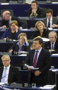 European Commission President Jose Manuel Barroso, right, addresses the European parliament in Strasbourg, eastern France, Thursday, Oct. 27, 2011.