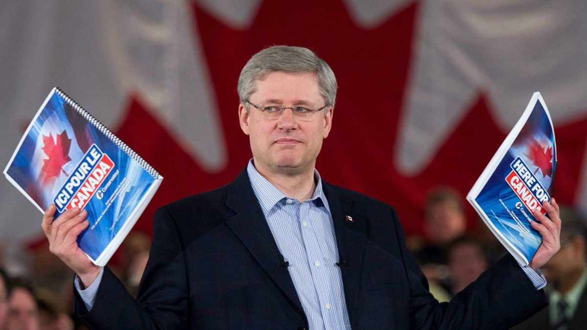 Conservative Leader Stephen Harper unveils the party platform during a campaign event in Mississauga, Ont., on Friday, April 8, 2011.