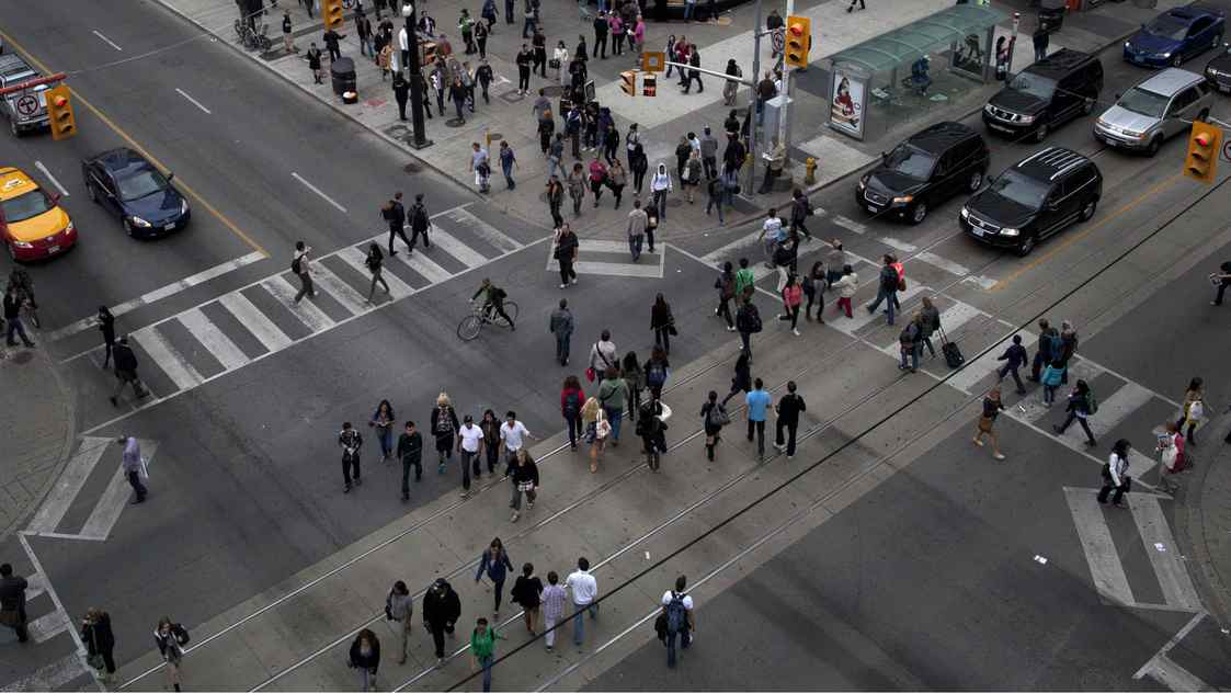 Scramble pedestrian crossing at the intersection of Dundas and Yonge Street in downtown Toronto on Sept. 7, 2011.