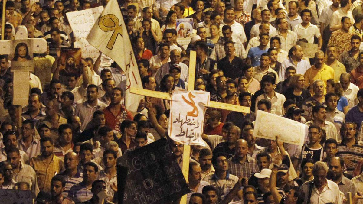 Egyptian Christians march in Cairo during a protest against an attack on a church in southern Egypt , October 9, 2011.