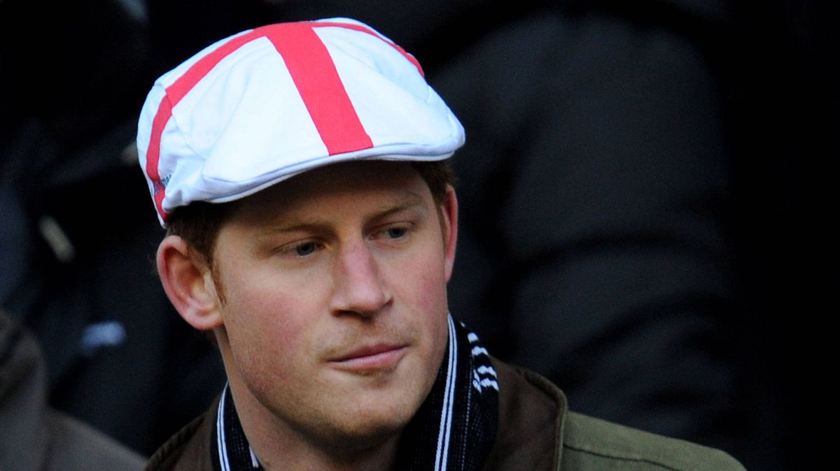 Prince Harry looks on prior to the RBS 6 Nations Championship match between England and France at Twickenham Stadium on February 26, 2011 in London, England.