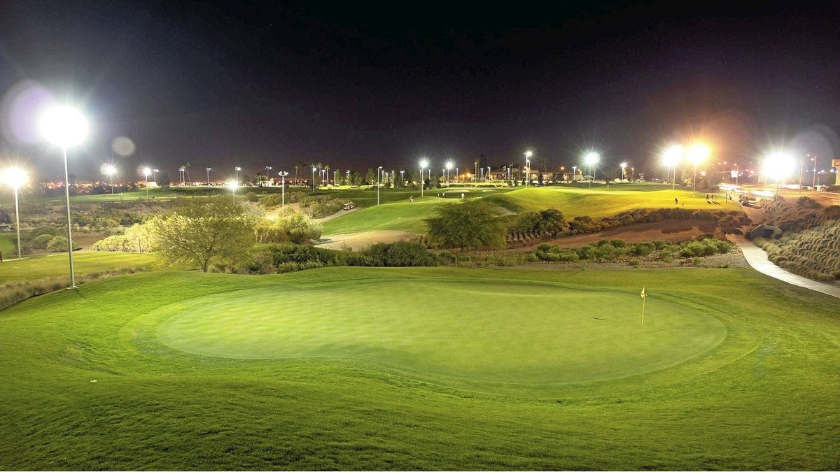 """Cloud Nine Course, Las Vegas: Twelve holes are inspired by golf's most famous par threes, including Royal Troon's """"Postage Stamp"""" and the island green hole at TPC Sawgrass. Floodlit and walkable, Cloud Nine offers a wholesome alternative to another lost night on the Strip. Green fee: $19 to $29. angelpark.com"""