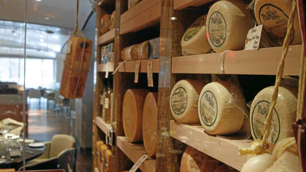 Wheels stored in the Toronto Ritz-Carlton's new cheese room.