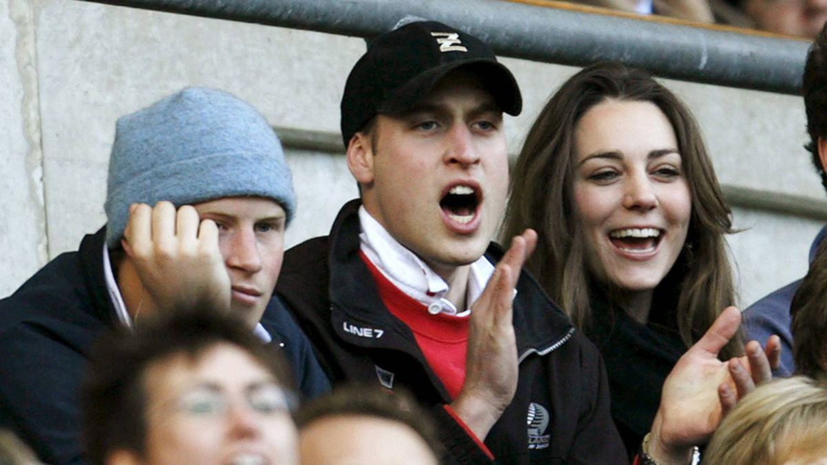 Prince Harry, Prince William and Kate Middleton attend the Six Nations international rugby union match against Italy in London in this Feb. 10, 2007 file photograph.