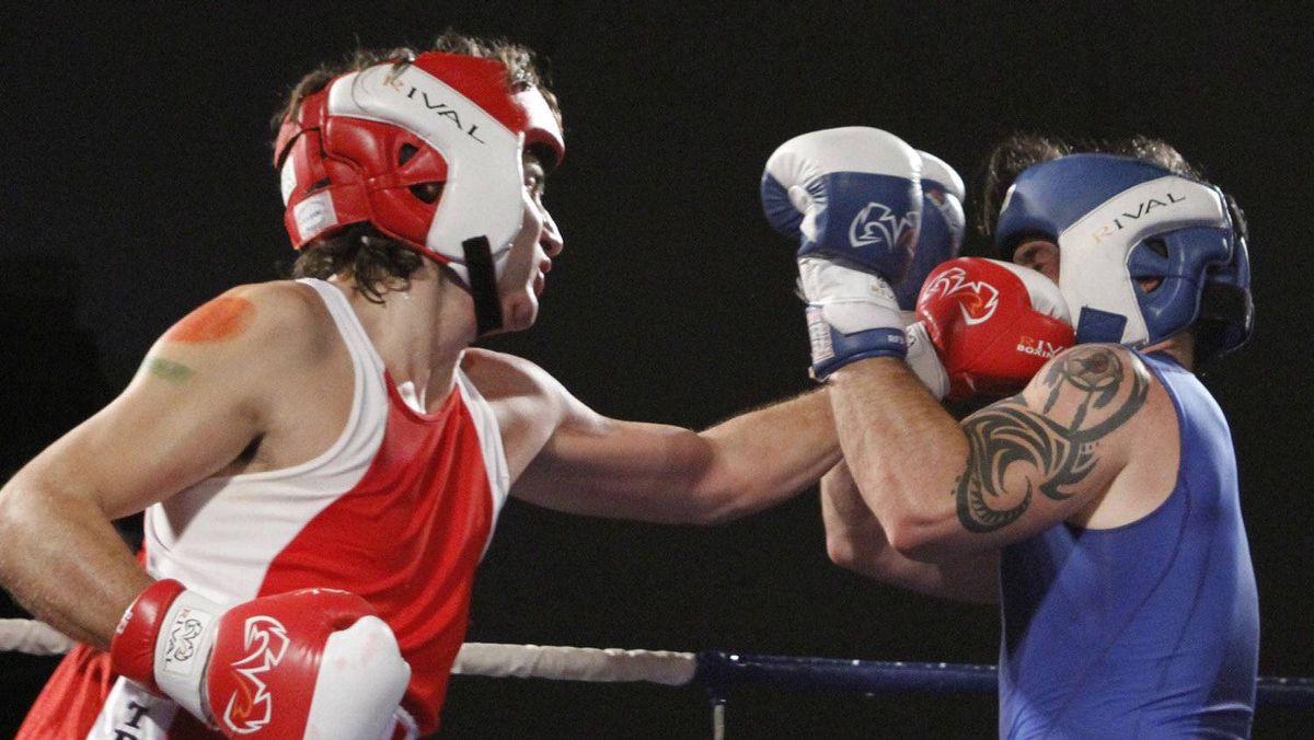 Conservative Senator Patrick Brazeau and Liberal MP Justin Trudeau fight in a charity boxing match for cancer research Saturday, March 31, 2012 in Ottawa.