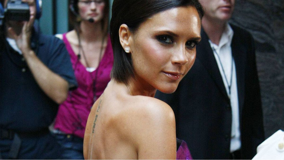Victoria Beckham arrives at a hotel in Denver, Colo., on Friday, Aug. 7, 2009.