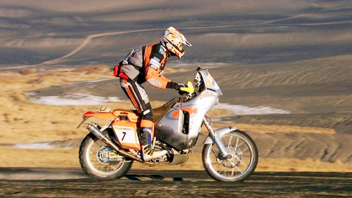 Spain's Juan Roma rides by the Namous volcano crater in the Libyan desert in 2000 during the 12th stage of the Dakar rally going from Waw El Kebir to Waha. Roma finished sixth in the stage.