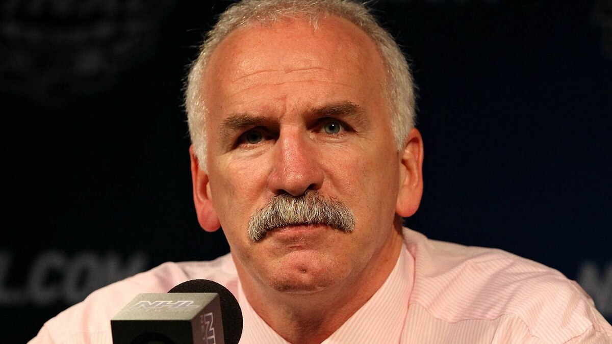 Head coach Joel Quenneville of the Chicago Blackhawks attends a press conference after losing Game Four of the 2010 NHL Stanley Cup Final against the Philadelphia Flyers 5-3 at Wachovia Center on June 4, 2010 in Philadelphia, Pennsylvania. (Photo by Al Bello/Getty Images)