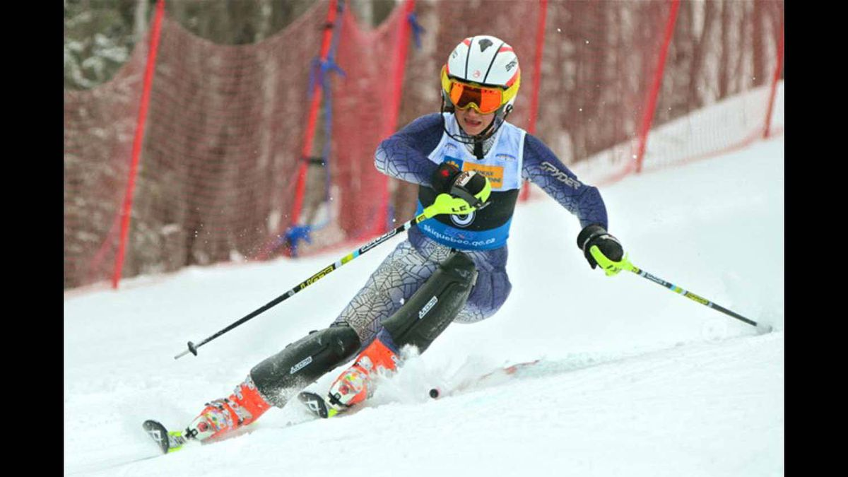 13yr old Jillian Lynott of the Mont Ste Marie Alpine Racing Club fights her way through a challenging slalom race during the Quebec Provincial ski championships.