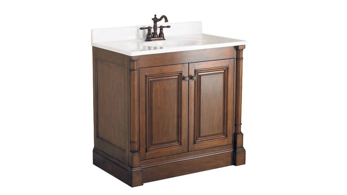 This solid-poplar cabinet with walnut finish and white marble top includes a wealth of hidden storage space, including three inner drawers, a curling iron/hair dryer holder and a lined jewellery tray. $499 at Home Depot (www.homedepot.ca).